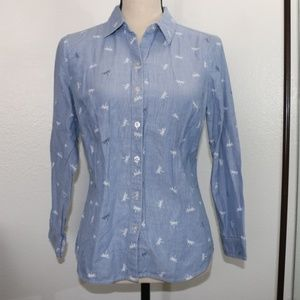 Chambray Shirt Dragonfly Button Up